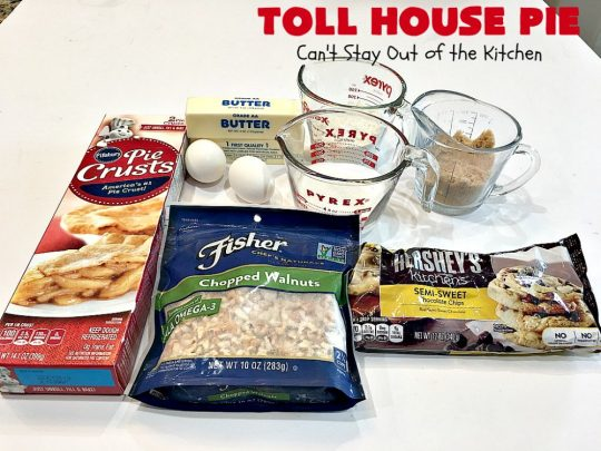 Toll House Pie | Can't Stay Out of the Kitchen | the easiest & most spectacular #TollHousePie ever! Better than #TollHouseCookies, this pie is rich, decadent & absolutely divine! Every bite will have you drooling. Perfect for a #holiday #dessert, too. #pie #ChocolateChips #Walnuts #southern #ThanksgivingDessert #ChristmasDessert #TollHouse #Chocolate #ChocolateDessert #TollHouseDessert