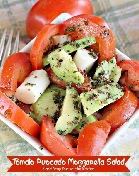 Tomato Avocado Mozzarella Salad | Can't Stay Out of the Kitchen | spectacular #Greek or #caprese style #salad with a delicious homemade #saladdressing. #glutenfree #tomatoes #avocados