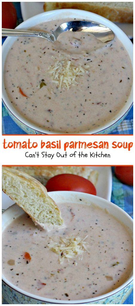 Tomato Basil Parmesan Soup | Can't Stay Out of the Kitchen | this creamy, cheesy #soup is amazing. You won't want to stop after eating the first bite! Plus it's so easy because it's made in the #crockpot! #tomatoes #cheese