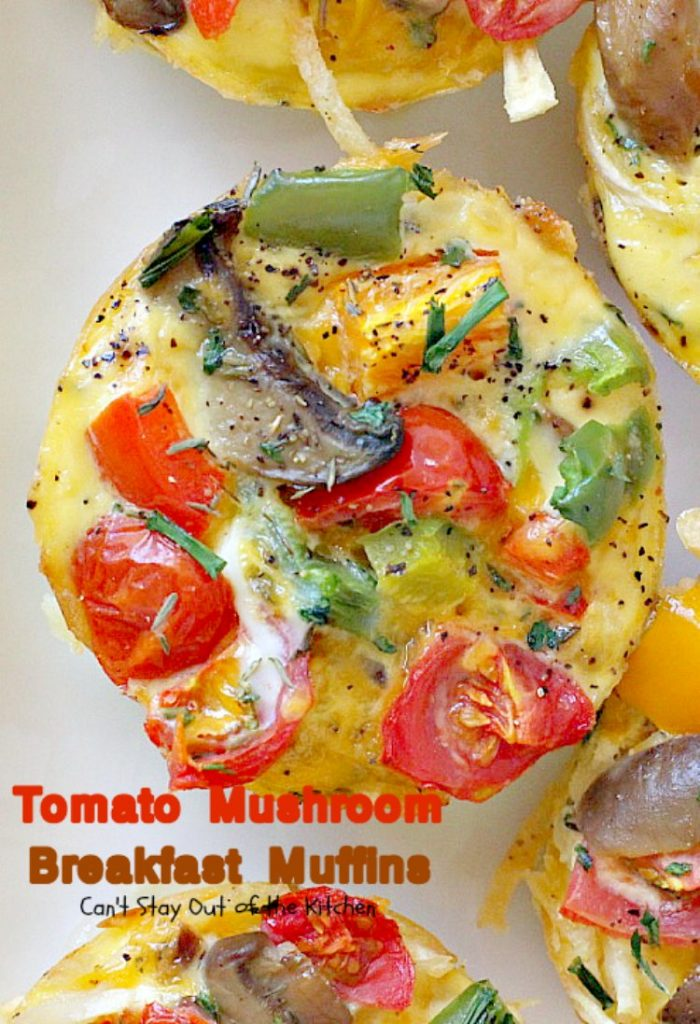 Tomato Mushroom Breakfast Muffins   Can't Stay Out of the Kitchen   these fabulous #vegetarian #breakfast #muffins are the perfect choice for any breakfast, especially the #holidays. #tomatoes #mushrooms #glutenfree