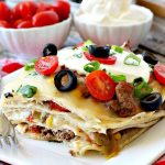 Tortilla Casserole   Can't Stay Out of the Kitchen   this is a delicious #TexMex layered #casserole like a #Mexican #lasagna using #tortillas instead. Makes 2 large dishes so it's perfect for company or potlucks. #beef