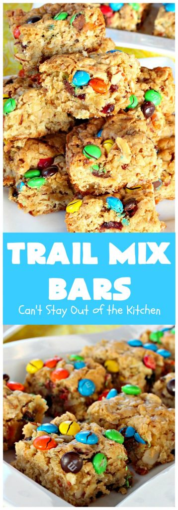 Trail Mix Bars | Can't Stay Out of the Kitchen | these #dessert bars are fantastic. They taste like eating #TrailMix but in #brownie form. They are mouthwatering & irresistible with the addition of #MMs. Terrific for #tailgating parties, potlucks, backyard BBQs and summer #holiday fun. #TailMixBars #chocolate #TrailMixDessert #MMDessert #ChocolateDessert