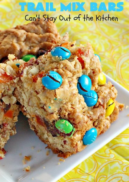 Trail Mix Bars | Can't Stay Out of the Kitchen | these #dessert bars are fantastic. They taste like eating #TrailMix but in #brownie form. They are mouthwatering & irresistible with the addition of #MMs. Terrific for #tailgating parties, potlucks, backyard BBQs and summer #holiday fun. #TrailMixBars #chocolate #TrailMixDessert #MMDessert #ChocolateDessert