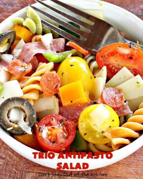 Trio Antipasto Salad | Can't Stay Out of the Kitchen | this favorite #pasta #salad includes #pepperoni, #salami & #provolone cheese. The homemade #vinaigrette is delightful. Great for potlucks, reunions & summer #BBQs.