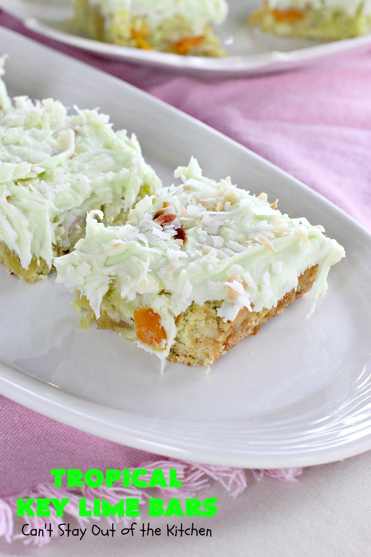 Tropical Key Lime Bars - Can\'t Stay Out of the Kitchen