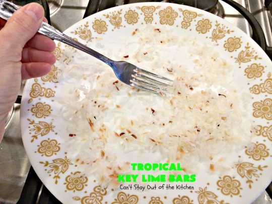 Tropical Key Lime Bars | Can't Stay Out of the Kitchen | This amazing #dessert is a perfect summer treat for Back-to-School bashes, family reunions or Labor Day parties. #cookie #keylime