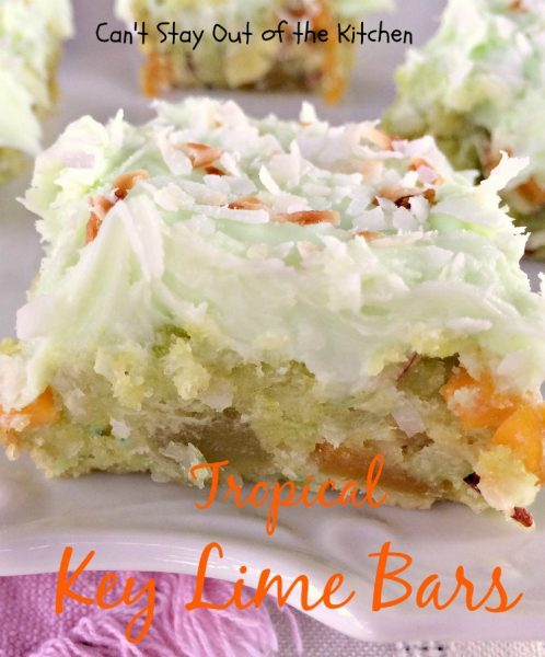 Tropical Key Lime Bars | Can't Stay Out of the Kitchen