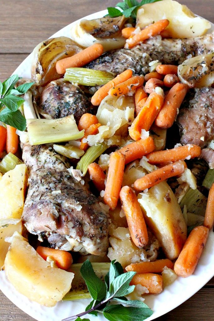 Turkey Leg Pot Roast   Can't Stay Out of the Kitchen   This terrific #PotRoast uses #TurkeyLegs instead of beef! It's #healthy, #LowCalorie & #GlutenFree. So easy to throw together since it's made in the #SlowCooker! #Crockpot #turkey #potatoes #carrots #OnePotMeal #EasyDinnerRecipe #TurkeyLegPotRoast