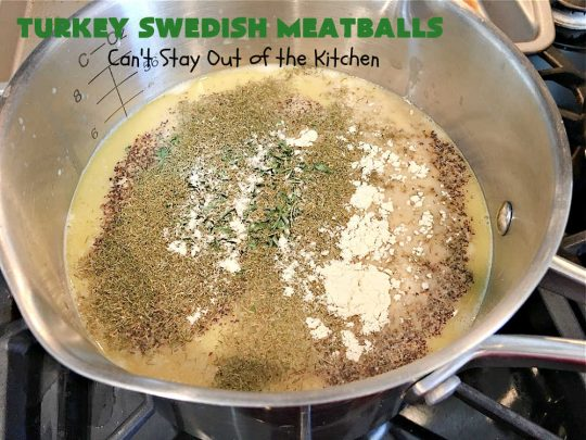 Turkey Swedish Meatballs | Can't Stay Out of the Kitchen | mouthwatering stick-to-the-ribs meal made with ground #turkey instead of ground beef. This comfort food meal is perfect for family dinners or company meals. #meatballs #TurkeyMeatballs #noodles #TurkeySwedishMeatballs