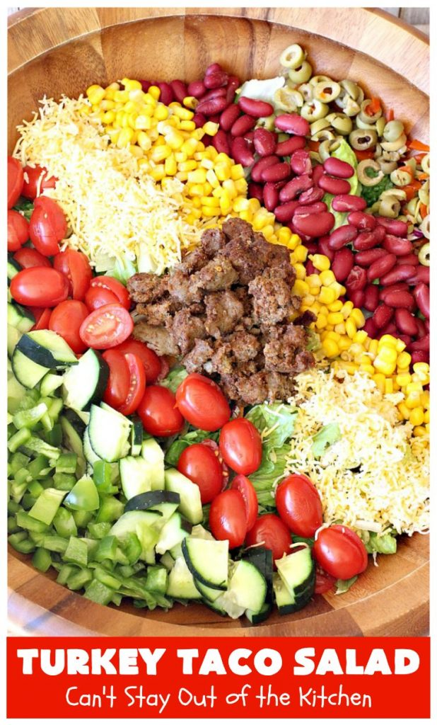 Turkey Taco Salad | Can't Stay Out of the Kitchen | healthier, #LowCalorie version of #TacoSalad. This one uses #TurkeySausage to give it a nice #TexMex kick. Terrific one-dish meal. #GlutenFree #turkey #healthy #TurkeyTacoSalad
