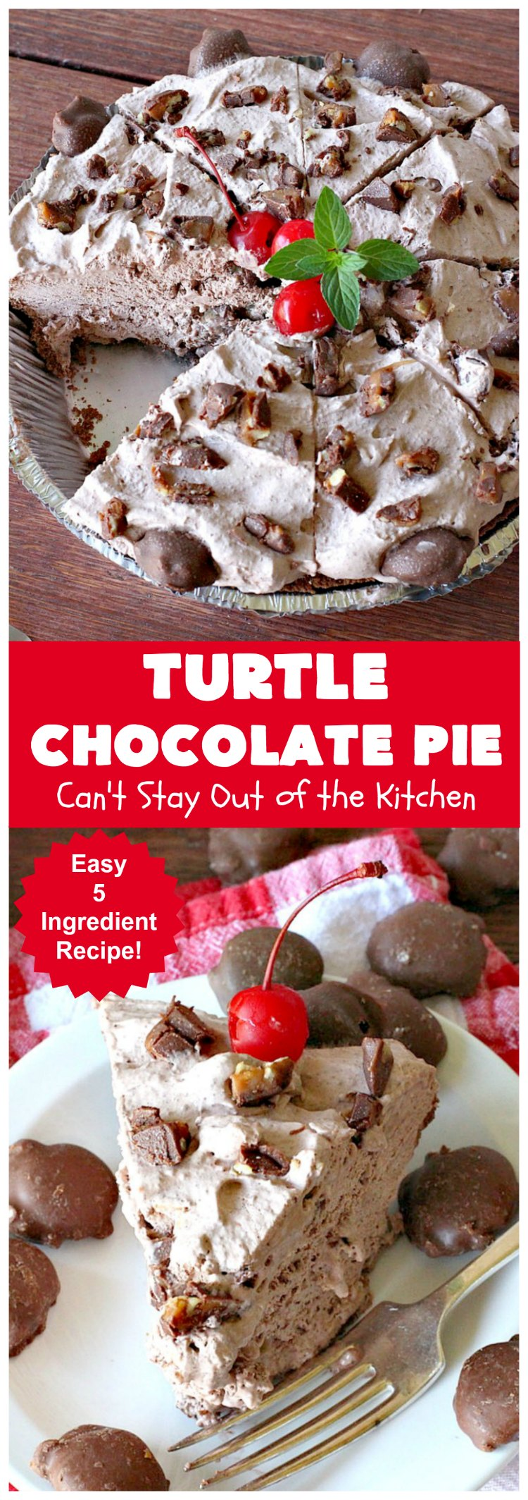 Turtle Chocolate Pie | Can't Stay Out of the Kitchen | this fantastic 5 ingredient #pie is made with #TurtlesCandies! It's outrageously delicious & so perfect for company or #holiday dinners. #chocolate #holiday #ChocolatePie #dessert #ChocolateDessert #HolidayDessert #5IngredientRecipe #TurtleCandy #TurtleChocolatePie #caramel #pecans