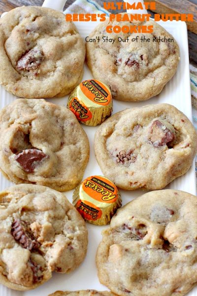Ultimate Reese's Peanut Butter Cookies | Can't Stay Out of the Kitchen | these amazing #cookies contain double the #peanutbutter flavor with peanut butter chips & #Reeses peanut butter cups! Rich, decadent, divine #dessert that's the perfect way to use up #halloween candy.