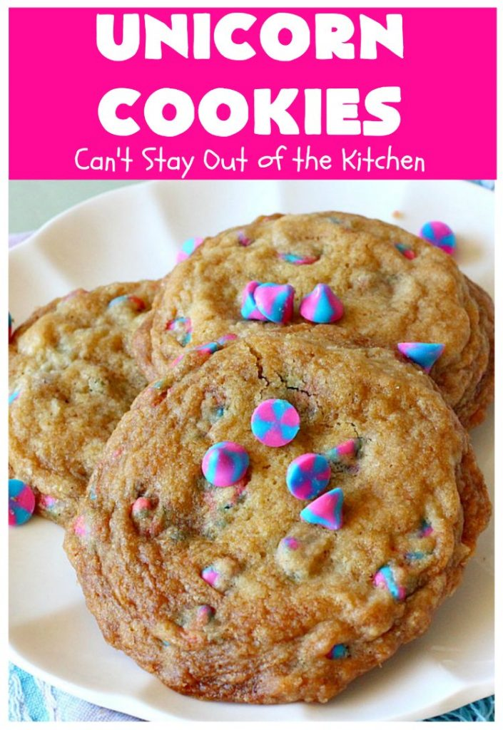 Unicorn Cookies | Can't Stay Out of the Kitchen | these adorable #cookies are made with #Nestles #Unicorn morsels. Terrific for #BirthdayParties or #holidays. #tailgating #dessert #HolidayDessert #ChristmasCookieExchange #UnicornCookies