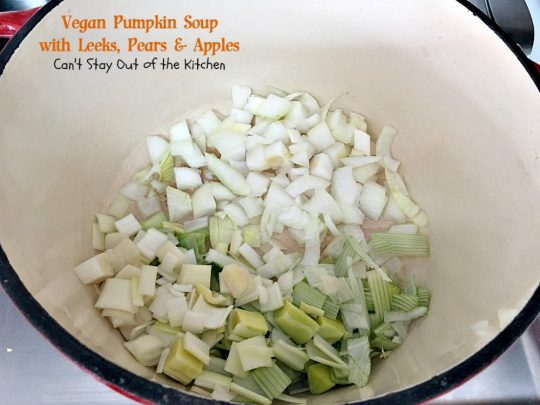 Vegan Pumpkin Soup with Leeks, Pears and Apples | Can't Stay Out of the Kitchen | this #soup is sensational - one of the best we have ever eaten! Comfort food at its finest. #vegan #glutenfree #pumpkin