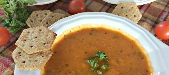 Vegan Roasted Tomato Basil Soup | Can't Stay Out of the Kitchen | This comforting #soup uses roasted #vegetables to increase flavor and #almondbreeze instead of cream to keep the recipe #vegan. #glutenfree #tomatoes