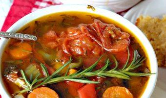 Vegan Roasted Tomato Basil Vegetable Soup