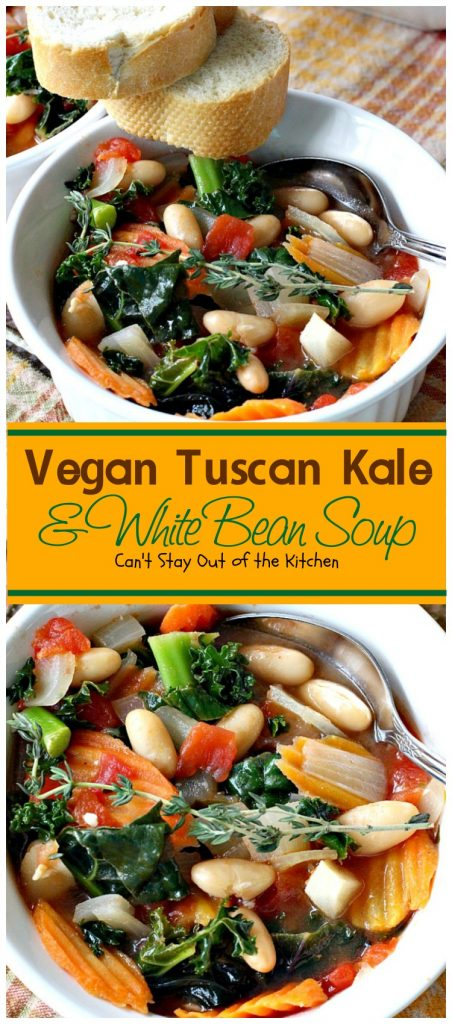 Vegan Tuscan Kale & White Bean Soup | Can't Stay Out of the Kitchen
