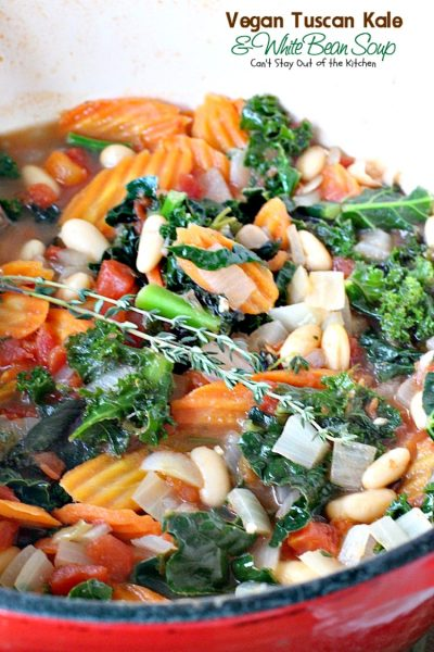 Vegan Tuscan Kale and White Bean Soup | Can't Stay Out of the Kitchen | amazing #lowcalorie and healthy #soup is incredibly tasty. It's also quick, easy #glutenfree & #vegan.
