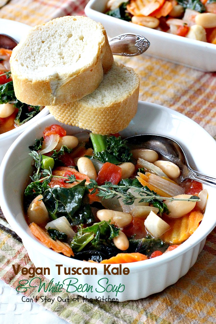 Vegan Tuscan Kale and White Bean Soup | Can't Stay Out of the Kitchen