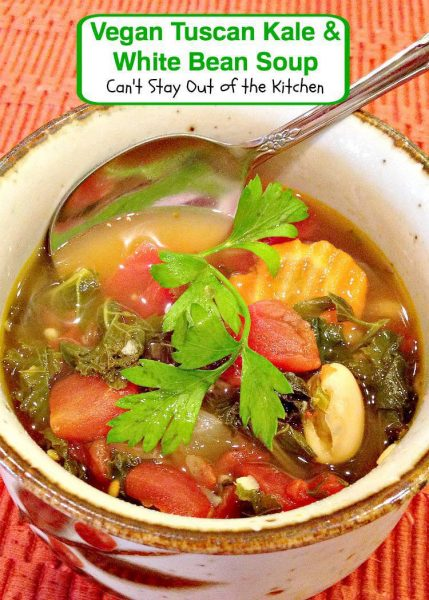 Vegan Tuscan Kale and White Bean Soup - Can't Stay Out of ...