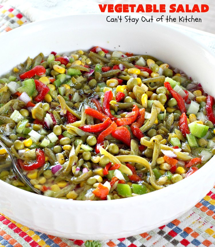 Vegetable Salad   Can't Stay Out of the Kitchen   this delicious #salad is so easy to put together. It's prepared a day in advance so the veggies marinate before serving. #healthy #Vegan #LowCalorie #GlutenFree #VegetableSalad