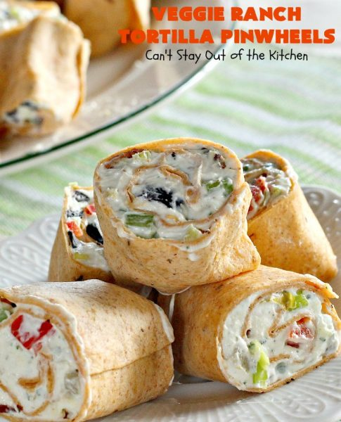 Veggie Ranch Tortilla Pinwheels | Can't Stay Out of the Kitchen | these #TexMex #appetizers are heavenly! They're made with a cream cheese & #Ranch dressing mix base. Then filled with green #chilies, #bacon, #olives & #peppers. Perfect for #tailgating, #NewYearsEve or #SuperBowl parties!