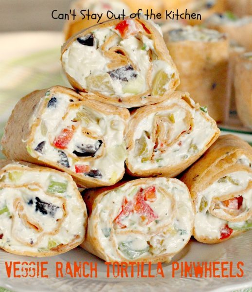Veggie Ranch Tortilla Pinwheels | Can't Stay Out of the Kitchen
