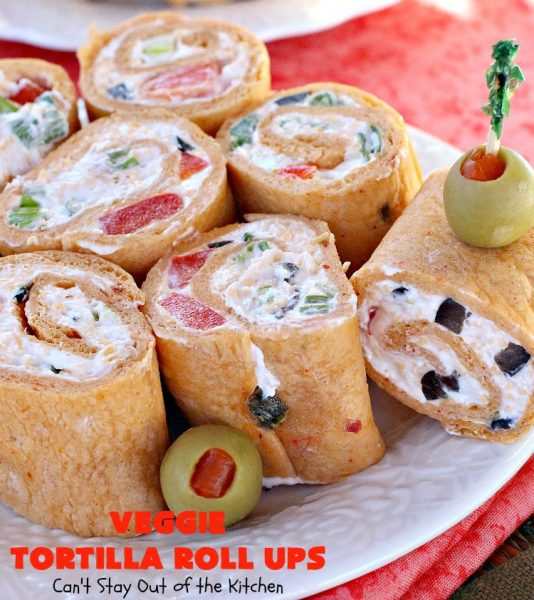 Veggie Tortilla Roll Ups | Can't Stay Out of the Kitchen | these delicious #appetizers are smooth and creamy and so perfect for #tailgating, #NewYearsEve or #SuperBowl parties. Everyone loves them!