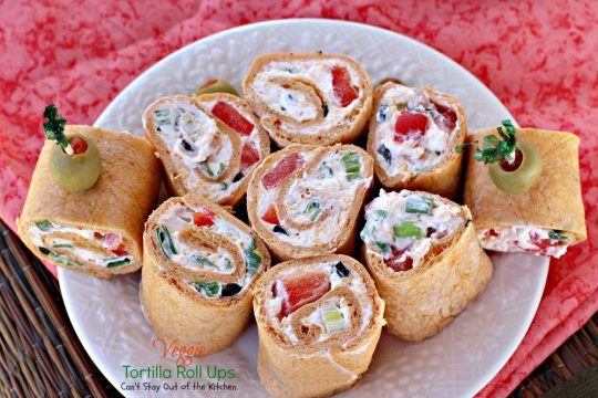 Veggie Tortilla Roll Ups | Can't Stay Out of the Kitchen | spectacular #appetizers that are great for #SuperBowl fare or #tailgating parties. #Tex-Mex