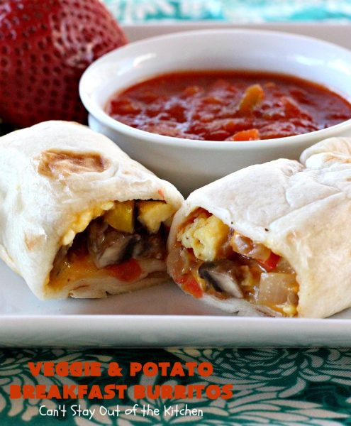 Veggie and Potato Breakfast Burritos   Can't Stay Out of the Kitchen   these delightful #BreakfastBurritos are awesome for a weekend, company or #holiday #breakfast. They can easily be prepared & frozen in advance & then microwaved before serving. Terrific for a grab and go breakfast too. #Tortillas #eggs #CheddarCheese #mushrooms #potatoes #Vegetarian #vegetables #VeggieAndPotatoBreakfastBurritos #brunch #HolidayBreakfast #MeatlessMondays