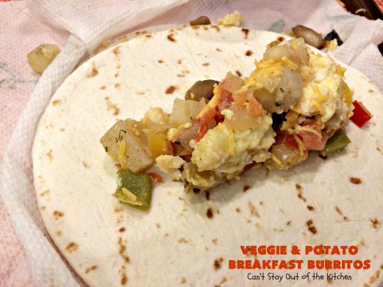 Veggie and Potato Breakfast Burritos | Can't Stay Out of the Kitchen | these delightful #BreakfastBurritos are awesome for a weekend, company or #holiday #breakfast. They can easily be prepared & frozen in advance & then microwaved before serving. Terrific for a grab and go breakfast too. #Tortillas #eggs #CheddarCheese #mushrooms #potatoes #Vegetarian #vegetables #VeggieAndPotatoBreakfastBurritos #brunch #HolidayBreakfast #MeatlessMondays