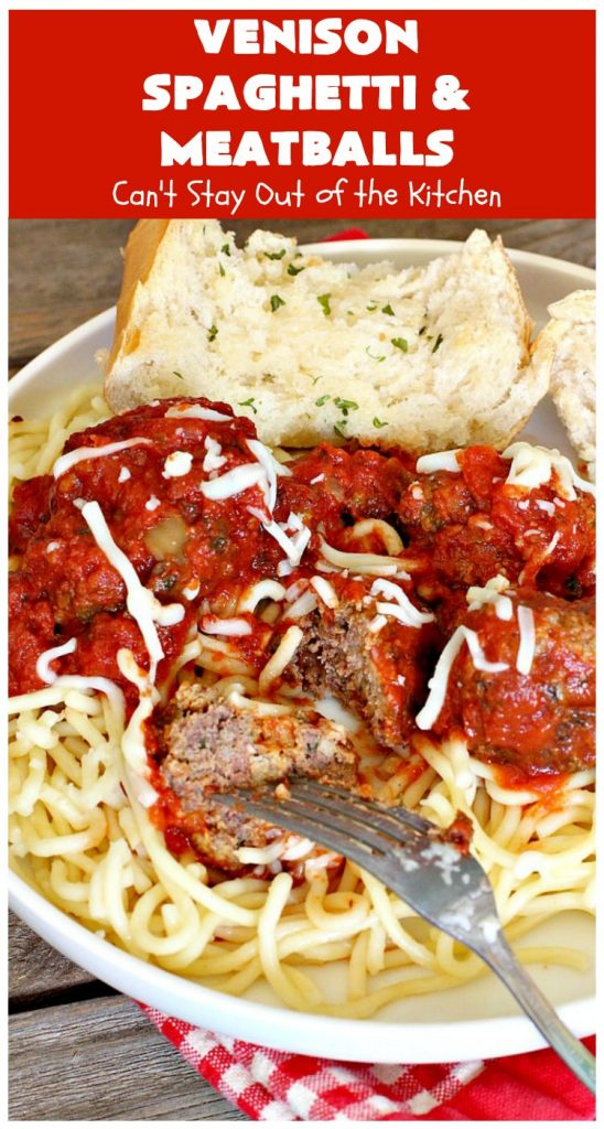 Venison Spaghetti and Meatballs   Can't Stay Out of the Kitchen   this #SpaghettiAndMeatballs version can't be beat! It takes the best of #spaghetti & #meatballs but uses #venison instead. No one will ever believe you're using #DeerMeat instead of #beef! This #LowCalorie entree will knock your socks off! #Italian #pasta #VenisonSpaghettiAndMeatballs