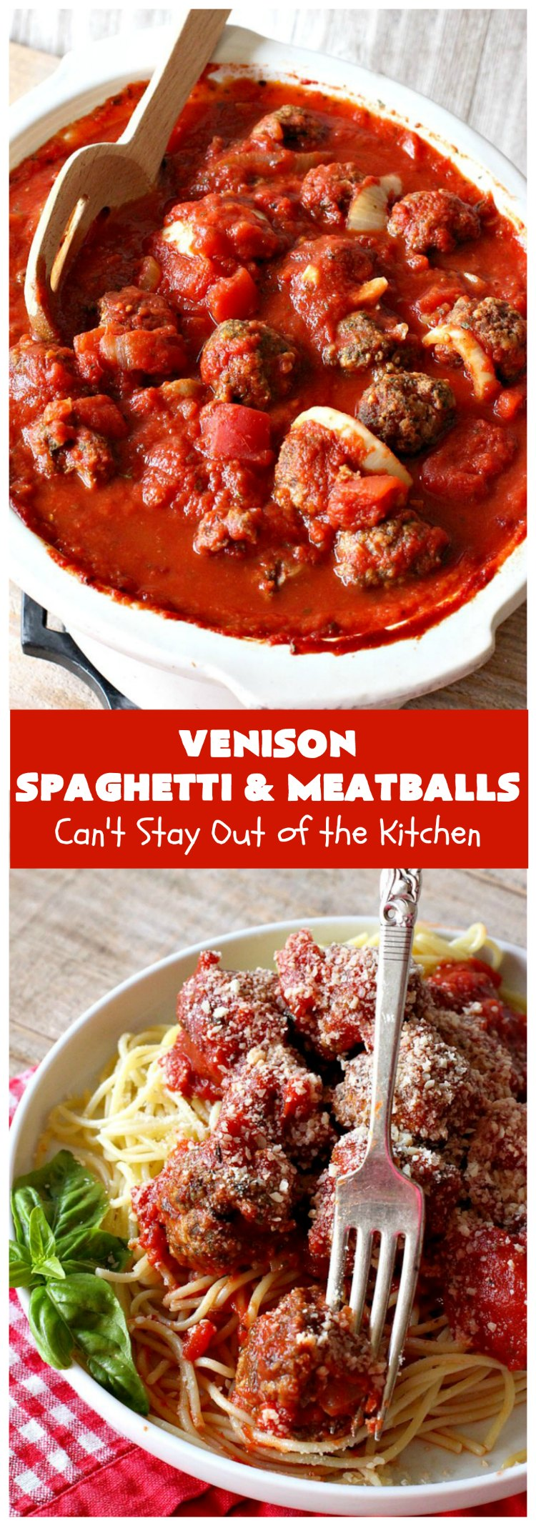 Venison Spaghetti and Meatballs   Can't Stay Out of the Kitchen   this #SpaghettiAndMeatballs version can't be beat! It takes the best of #spaghetti & #meatballs but uses #venison instead. No one will ever believe you're using #DeerMeat instead of #beef! This #LowCalorie entree will knock your socks off! #Italian #pasta #VenisonSpaghettiAndMeatballsVenison Spaghetti and Meatballs   Can't Stay Out of the Kitchen   this #SpaghettiAndMeatballs version can't be beat! It takes the best of #spaghetti & #meatballs but uses #venison instead. No one will ever believe you're using #DeerMeat instead of #beef! This #LowCalorie entree will knock your socks off! #Italian #pasta #VenisonSpaghettiAndMeatballs