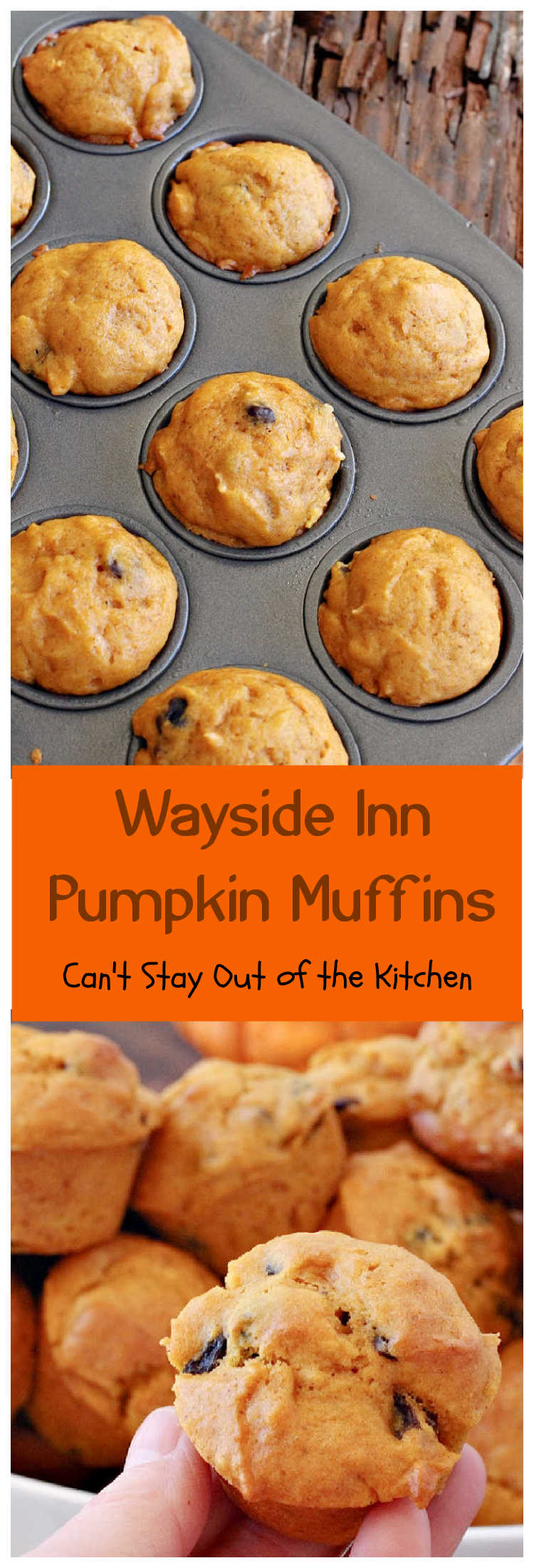 Wayside Inn Pumpkin Muffins | Can't Stay Out of the Kitchen | these fabulous #muffins are served at the historic #LongellowsWaysideInn in Sudbury, Massachusetts. They are absolutely divine! Great for a #holiday #breakfast like #Thanksgiving or #Christmas #pumpkin #raisins #PumpkinMuffins #WaysideInnPumpkinMuffins