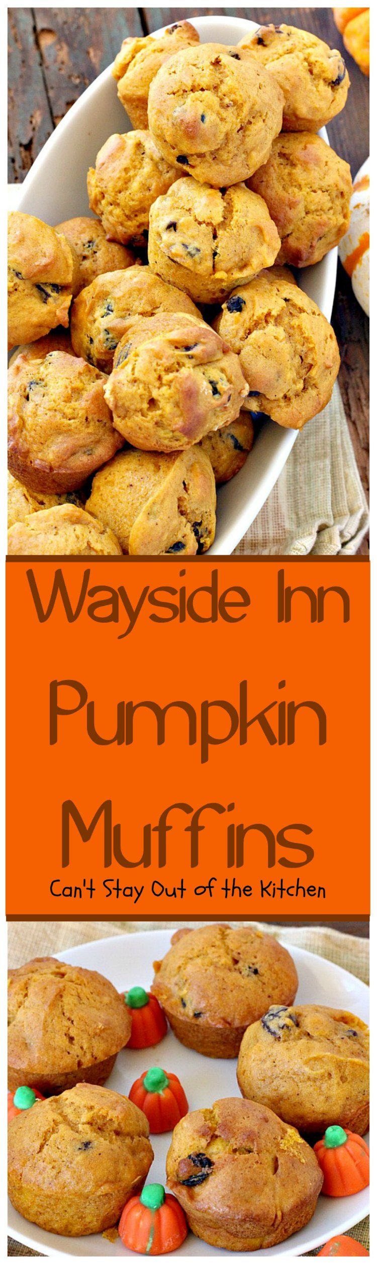 Wayside Inn Pumpkin Muffins | Can't Stay Out of the Kitchen | these fabulous #muffins are served at the historic Longellow's Wayside Inn in Sudbury, Massachusetts. Great for a #holiday #breakfast. #pumpkin #raisins