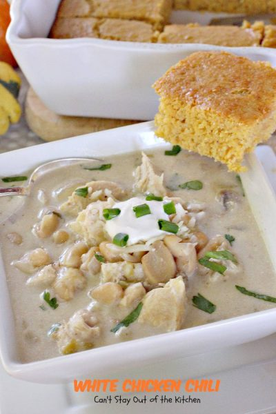 White Chicken Chili | Can't Stay Out of the Kitchen | tasty #Tex-Mex #chili with #chicken #cannellinibeans and #greenchilies. #glutenfree