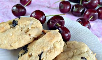 White Chocolate Cherry Coconut Cookies