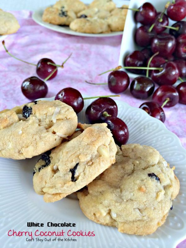 White Chocolate Cherry Coconut Cookies | Can't Stay Out of the Kitchen | these scrumptious #chocolatechipcookies are filled with #cherries #whitechocolatechips and #coconut. Festive and beautiful for #holiday #baking. #dessert #cookies