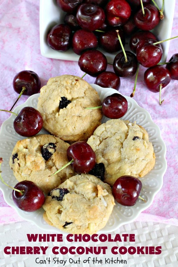 White Chocolate Cherry Coconut Cookies | Can't Stay Out of the Kitchen | these amazing #cookies have it all! They're festive, beautiful and taste incredibly good. Perfect for #holiday parties or #ChristmasCookieExchanges. #tailgating #dessert #ChocolateDessert #WhiteChocolateChips #Cherries #coconut #CherryDessert
