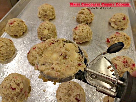 White Chocolate Cherry Cookies | Can't Stay Out of the Kitchen | these sensational #cookies are perfect for #holiday #baking. They're filled with #whitechocolatechips #candiedcherries and #pecans. #dessert #chocolate