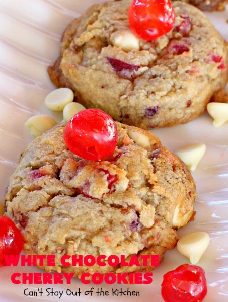 White Chocolate Cherry Cookies | Can't Stay Out of the Kitchen | these over-the-top #cookies will knock your socks off! They're filled with white #chocolate chips, #pecans & #candiedcherries. They're awesome for #holiday #baking & #Christmas #cookie exchanges. #dessert #cherrydessert #ChristmasDessert #whitechocolatedessert #chocolatedessert #whitechocolate