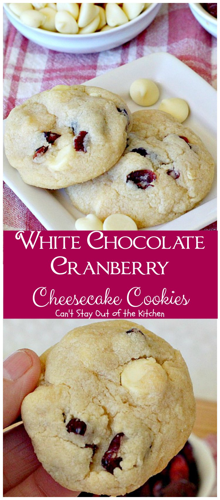 White Chocolate And Cranberry Cheesecake Cookies