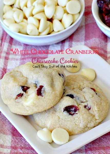 White Chocolate Cranberry Cheesecake Cookies | Can't Stay Out of the Kitchen | #Subway copycat recipe. #cheesecake pudding mix takes these scrumptious #cookies to the next level. They are sensational! #whitechocolate #craisins #dessert