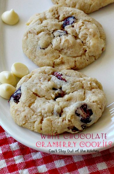 White Chocolate Cranberry Cookies | Can't Stay Out of the Kitchen | this fabulous #dessert is one of our favorite #holiday #cookies. #whitechocolatechips and #craisins make this #oatmealcookie spectacular. #chocolate