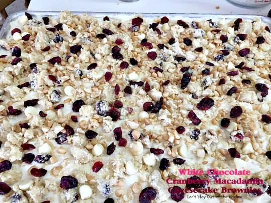 White Chocolate Cranberry Macadamia Cheesecake Brownies | Can't Stay Out of the Kitchen |we love these spectacular #brownies. They have a delectable #cheesecake layer in the middle & they're perfect for #tailgating parties. #chocolate #dessert #cranberries