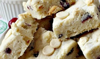 White Chocolate Cranberry Shortbread Blondies