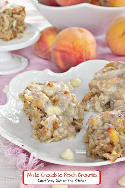 White Chocolate Peach Brownies | Can't Stay Out of the Kitchen | Rich, decadent, spectacular! #whitechocolate #peaches #coconut #walnuts #dessert #cookie