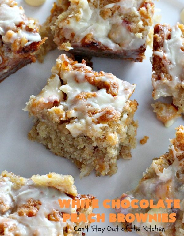 White Chocolate Peach Brownies   Can't Stay Out of the Kitchen   these fantastic #brownies are ooey, gooey decadent & divine! They're filled with #coconut, #walnuts, #peaches & white #chocolatechips. Then they're drizzled with white #chocolate icing. This #dessert is fantastic during the #summer when peaches are in season.