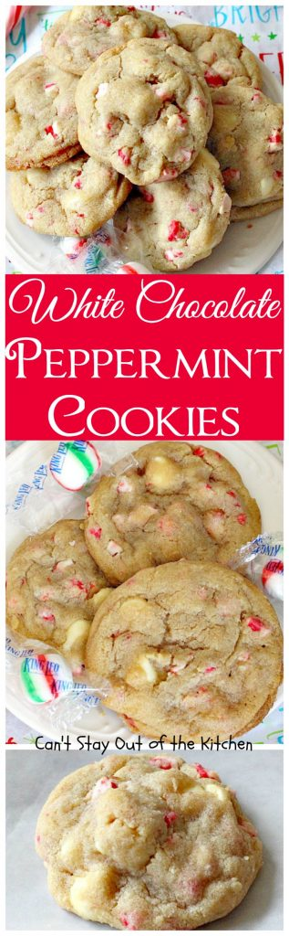 White Chocolate Peppermint Cookies | Can't Stay Out of the Kitchen | fantastic #cookies with white #chocolate chips & #Andes #peppermint baking chips. Great for #holiday baking. #dessert