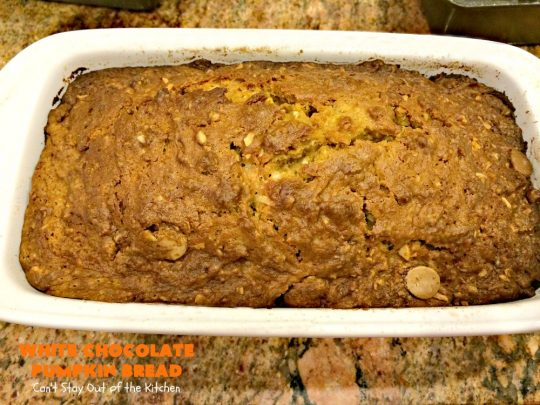 White Chocolate Pumpkin Bread | Can't Stay Out of the Kitchen | this delicious #pumpkin #bread is filled with white #chocolate chips & iced with white chocolate icing. It's perfect for #fall #baking, or #Thanksgiving or #Christmas #breakfast.